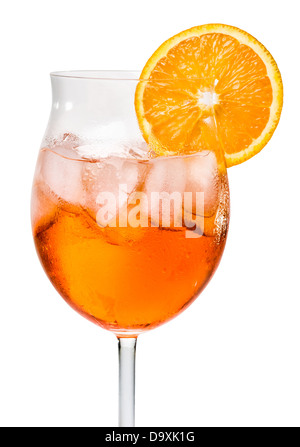 Aperol Spritz in a wine glass decorated with an orange slice - Stock Photo