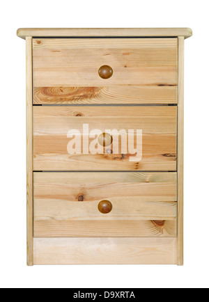 Pine chest of drawers with clipping path - Stock Photo