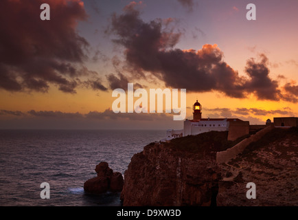 Lighthouse at Cape St Vincent Sagres Algarve Portugal EU Europe - Stock Photo
