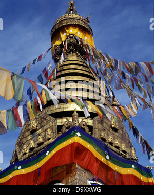 Prayer FlagsFluttering at Kathesimbhu Stupa, Katmandu Nepal - Stock Photo