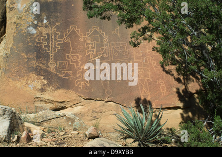 Native American petroglyphs in Lobo Canyon, Cebolla Wilderness, New Mexico. Digital photograph - Stock Photo
