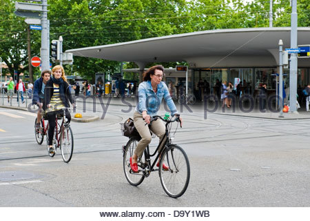 Cyclists in the city center,Zurich,Switzerland - Stock Photo