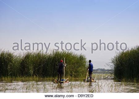 Fishermnn,Chamo lake,Arba Minch,Ethiopia - Stock Photo