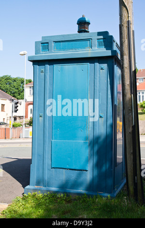 An Old 1960's Police Phone Box in Newport City in Wales, United Kingdom. - Stock Photo