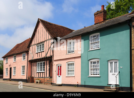 Row of colourful old cottages on Church Street in historic picturesque village of Lavenham, Suffolk, England, UK, - Stock Photo
