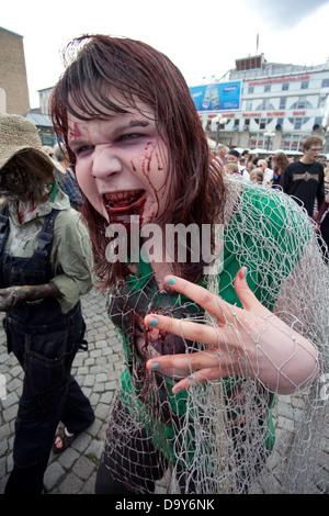 Josephine Bengtsberg as a Zombie at Stockholm Zombie Walk 2012 - Stock Photo
