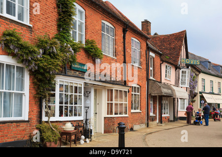 Old shops around Market Place in historic village of Lavenham, Suffolk, England, UK, Britain - Stock Photo