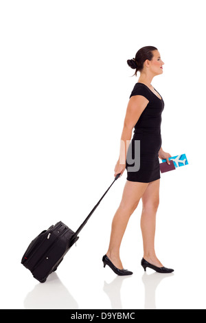 side view of young woman traveling isolated on white background - Stock Photo