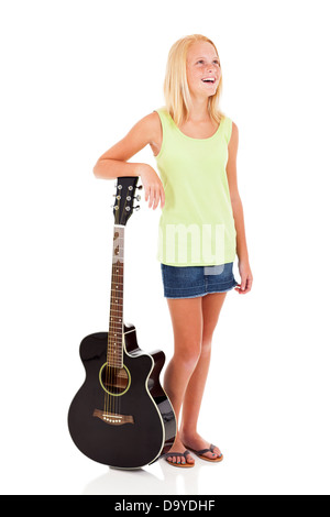 beautiful young pre teen girl posing with a guitar on white background - Stock Photo