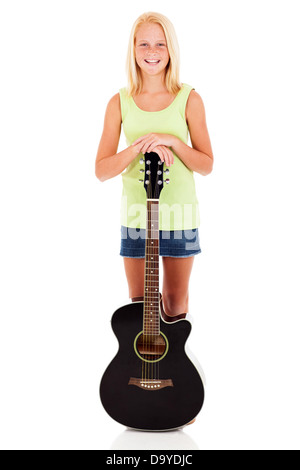 happy pre teen girl with a guitar isolated on white - Stock Photo