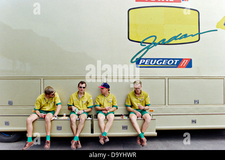 Jordan team members take a break during the British Grand Prix at Silverstone, 1996. - Stock Photo