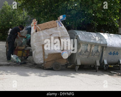 Bulgaria Yambol region June 29 2013: Recycling helps out with the weekly budget for poorer families across regions - Stock Photo