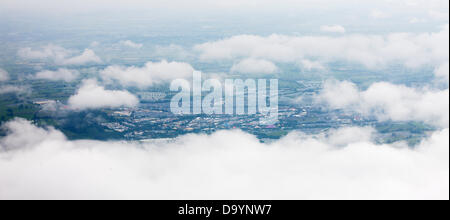 Glastonbury, Somerset, UK. 28th June 2013. Glastonbury 2013 aerial view of the site Credit:  Dom Mowbray/Alamy Live - Stock Photo
