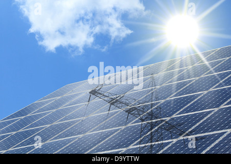 Solar cells with radiation of  the sun and power pole - Stock Photo