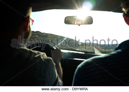 Motoring on unsurfaced roads, on Kea island, Greece. - Stock Photo