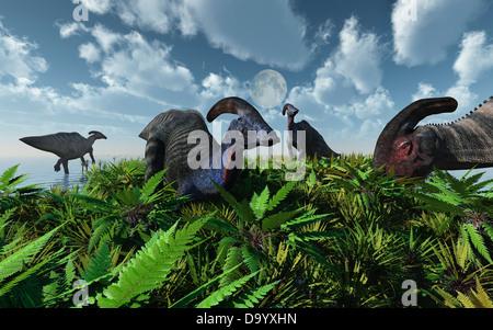 A Herd Of Parasaurolophus Feeding - Stock Photo