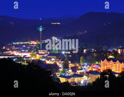 The skyline of downtown Gatlinburg, Tennessee, USA in the Great Smoky Mountains. - Stock Photo