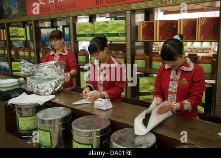 Tea being prepared in a Beijing tea shop, China. - Stock Photo
