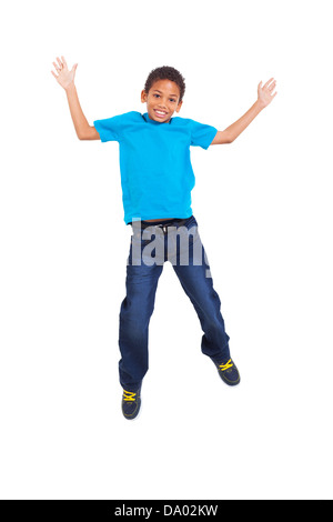 lovely young african american boy jumping on white background - Stock Photo