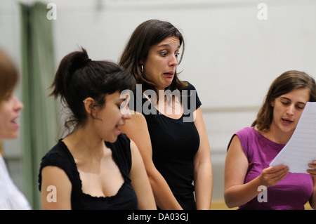 BARCELONA - MAR 3: Actors rehearsal Commedia dell'arte on March 3, 2011 in Barcelona, Spain. - Stock Photo