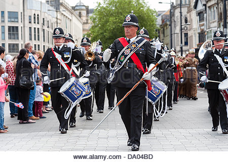 Cardiff, Wales, UK. 29th June 2013. Armed Forces Day 2013 Cardiff, UK. South Wales Police Band parading through - Stock Photo