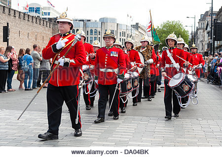Cardiff, Wales, UK. 29th June 2013. Armed Forces Day 2013 Cardiff, UK. Army Cadet Force band parading through the - Stock Photo