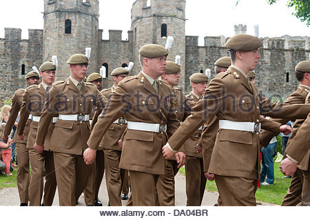 Cardiff, Wales, UK. 29th June 2013. Armed Forces Day 2013 Cardiff, UK. Royal Welsh Regiment soldiers marching from - Stock Photo