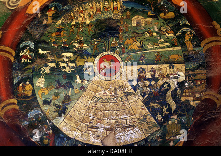 Colorful wall painting depicting Buddhist myth at Wudangzhao Lamasery the largest and best-preserved Buddhist Tibetan - Stock Photo