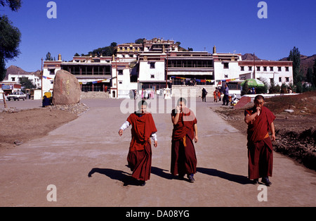 Buddhists monks at Wudangzhao Lamasery the largest and best-preserved Buddhist Tibetan Lamasery built in 1749 Located - Stock Photo