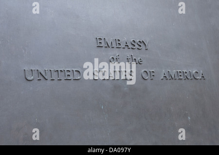 Closeup of Embassy of United States of America Sign - Stock Photo