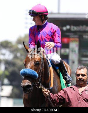 Inglewood, CA, USA. 29th June, 2013. Obviously with Joe Talamo aboard wins the G1 ''Win and Your Win'' Shoemaker - Stock Photo