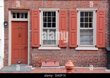 House With Red Windows And Door Stock Photo Royalty Free