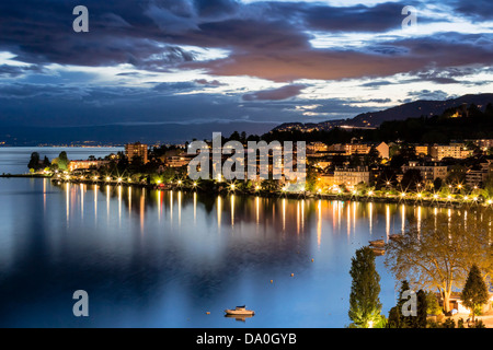 Night view of buildings from Montreux - Stock Photo