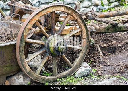 Old Wooden Wheel - Stock Photo