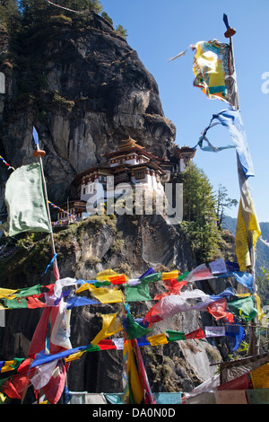 Taktsang Palphug Monastery or the Tigers Nest near Paro Bhutan was originally constructued in 1692. - Stock Photo