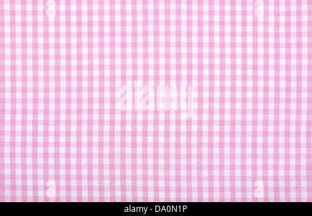 Light pink checkered fabric closeup , tablecloth texture - Stock Photo