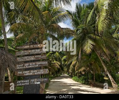 Parc entrance sign at l'union estate , La Digue, Seychelles, Indian Ocean, Africa - Stock Photo