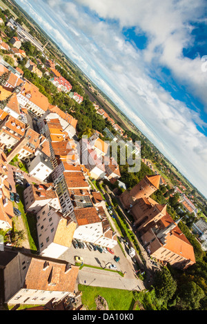 Aerial view of old town - Reszel, Poland. - Stock Photo