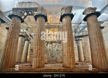The temple of Apollo Epicurius covered by a protective tent (and fog) at Vasses, Peloponnese, Greece - Stock Photo
