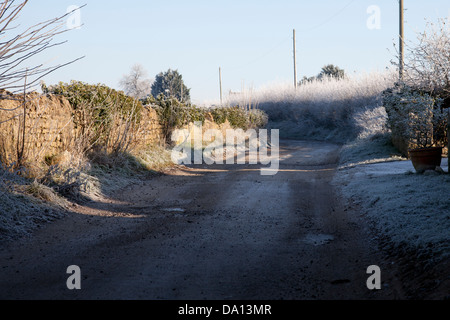 Country lane on a frosty winter's day