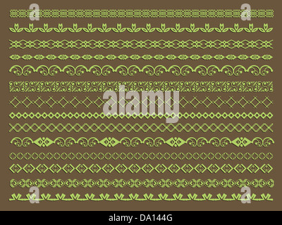Large collection of decorative borders and page breaks - Stock Photo