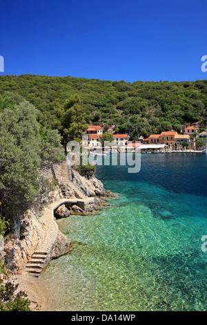 Kioni village, the most beautiful village of Ithaca (Ithaki) island, Ionian Sea, Eptanisa ('Seven Islands'), Greece. - Stock Photo