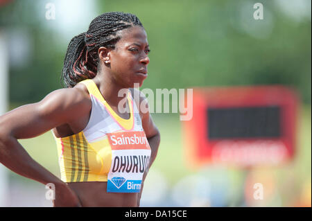 Birmingham, UK. 30th June 2013. Christine Ohuruogu of Great Britain prepares to compete in the women's 400m at the - Stock Photo