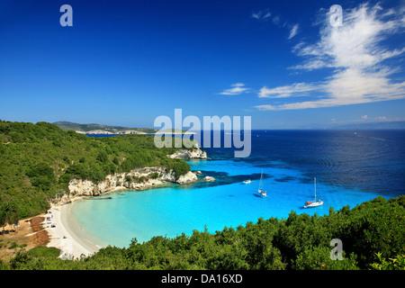 The exotic Voutoumi beach, Antipaxos ('Antipaxi') island, Ionian Sea, Eptanisa ('Seven Islands'), Greece. - Stock Photo