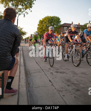 An annual bike race called a criterium is held in Shorewood, Wisconsin on city streets. - Stock Photo
