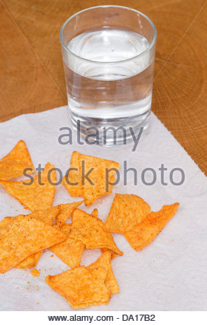 junk food crisps chips fried potato chip glass drinking water - Stock Photo