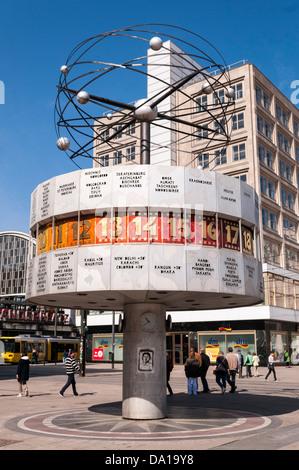 Germany, Berlin, World Clock at Alexanderplatz square - Stock Photo