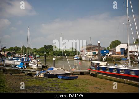 Boats tied up on the River Medina, Newport, Isle of Wight, UK - Stock Photo