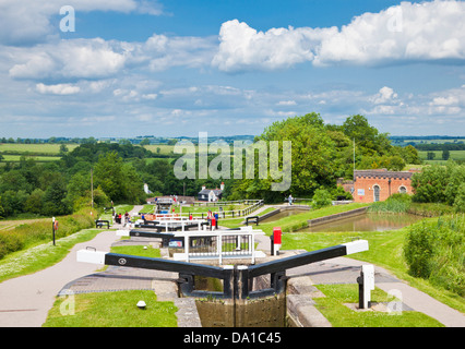 Historic Flight of locks at Foxton locks on the grand union canal Leicestershire England UK GB EU Europe - Stock Photo