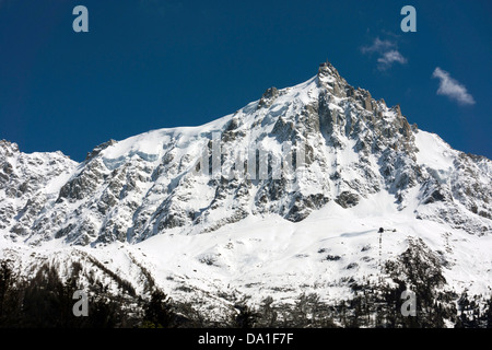 Aiguille du Midi seen from Chamonix Mont Blanc, French Alps - Stock Photo